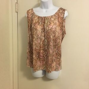 Chico's Pink/Tan Python Pattern Top Size 2 or Med